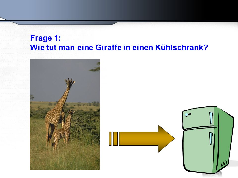 Frage 1: Wie tut man eine Giraffe in einen Kühlschrank