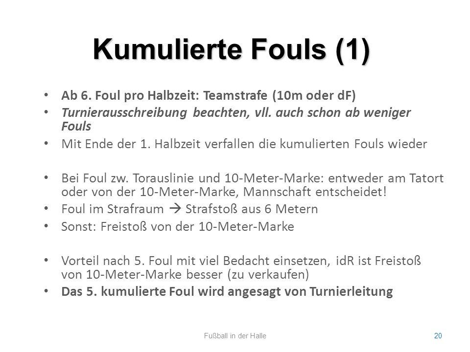 Kumulierte Fouls (1) Ab 6. Foul pro Halbzeit: Teamstrafe (10m oder dF)