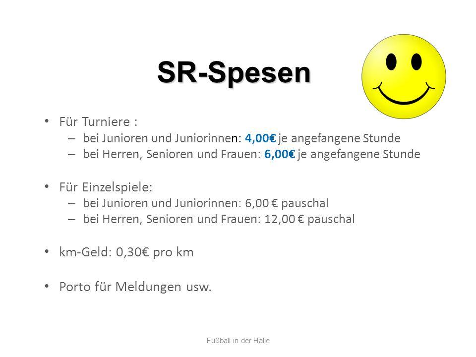 SR-Spesen Für Turniere : Für Einzelspiele: km-Geld: 0,30€ pro km