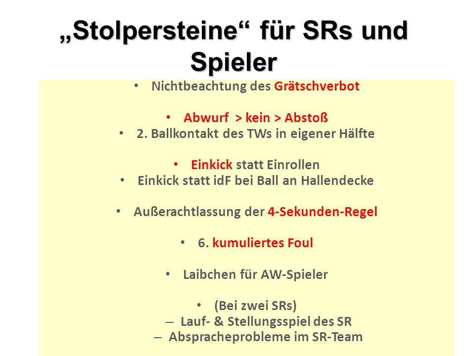 """""""Stolpersteine für SRs und Spieler"""