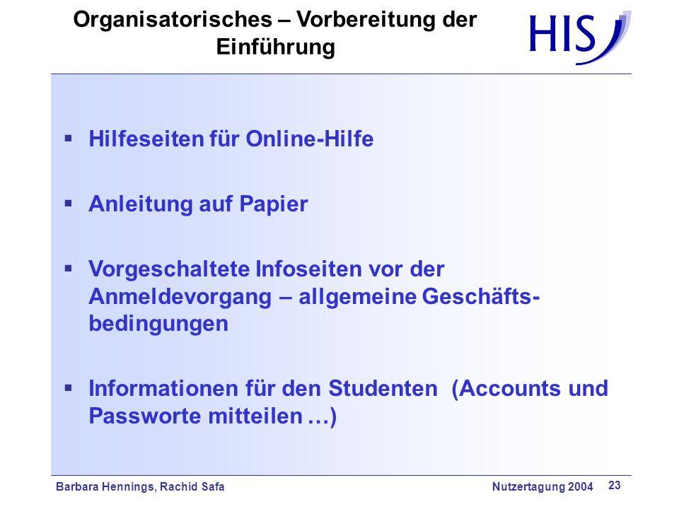 Organisatorisches – Vorbereitung der Einführung