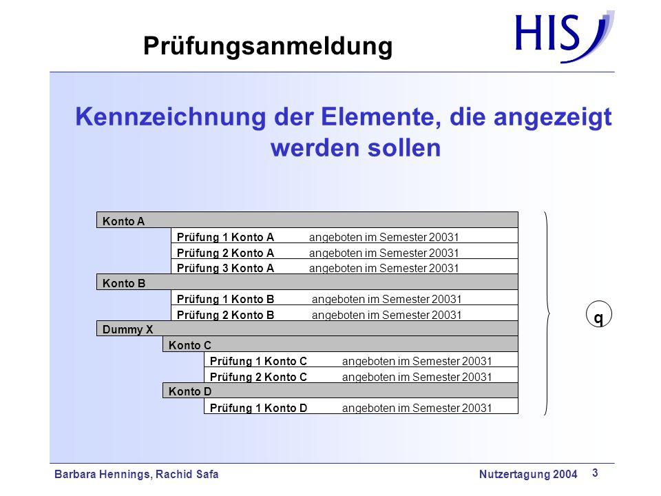 Kennzeichnung der Elemente, die angezeigt werden sollen