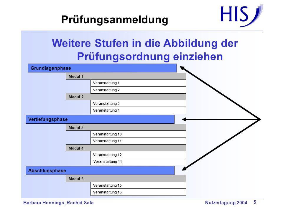 Weitere Stufen in die Abbildung der Prüfungsordnung einziehen