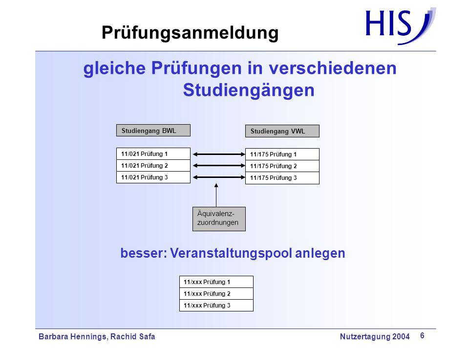 Prüfungsanmeldung gleiche Prüfungen in verschiedenen Studiengängen
