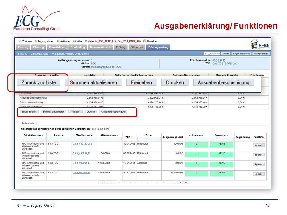 Ausgabenerklärung/ Funktionen
