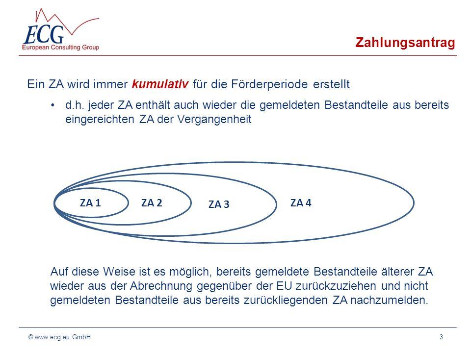 Zahlungsantrag Ein ZA wird immer kumulativ für die Förderperiode erstellt.