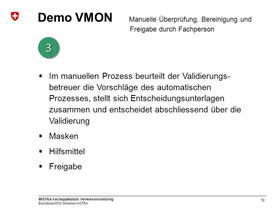 Demo VMON Manuelle Überprüfung, Bereinigung und Freigabe durch Fachperson