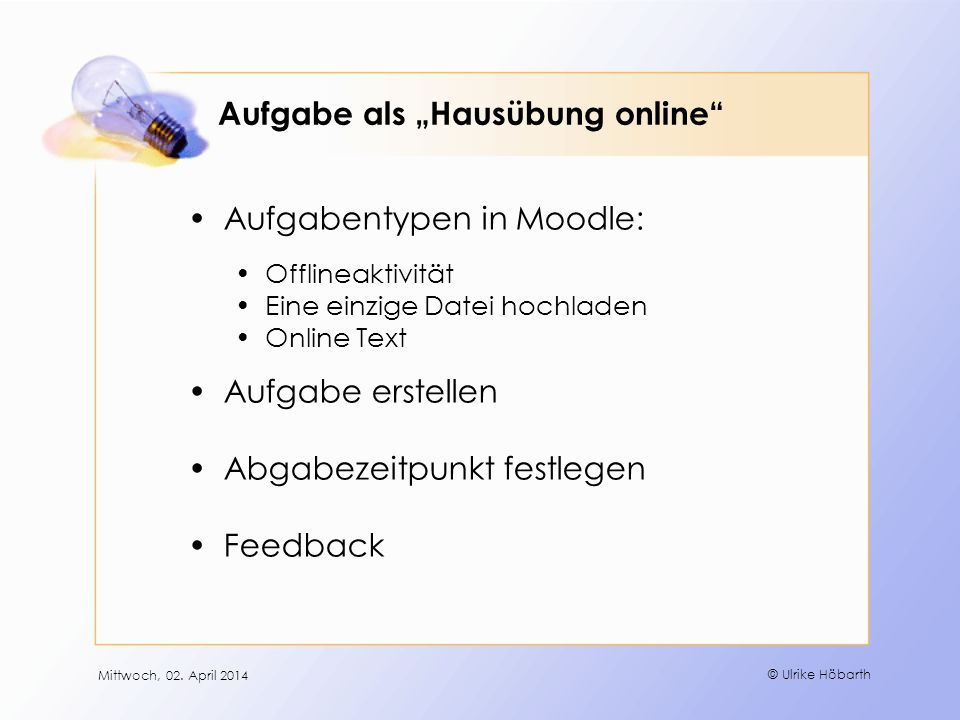 """Aufgabe als """"Hausübung online"""