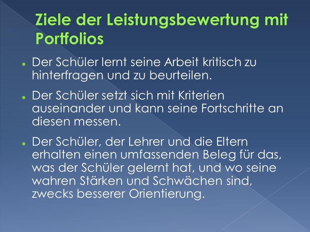 Ziele der Leistungsbewertung mit Portfolios