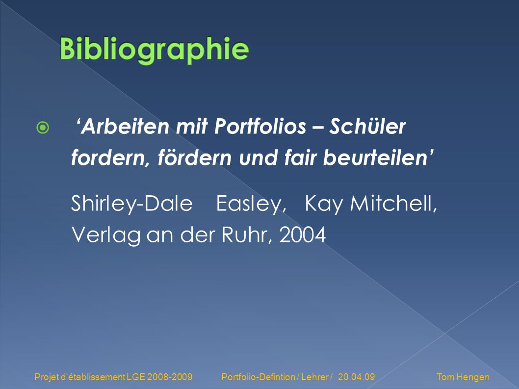 Bibliographie 'Arbeiten mit Portfolios – Schüler