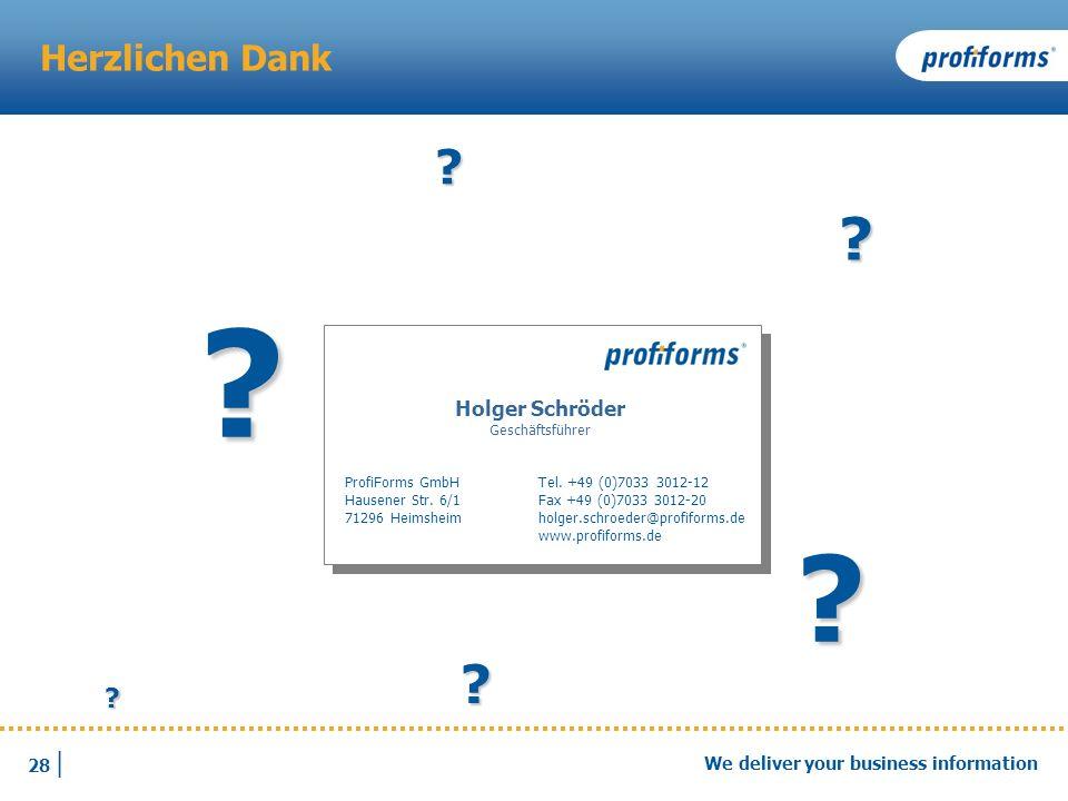 Fragen und Antworten Herzlichen Dank Holger Schröder