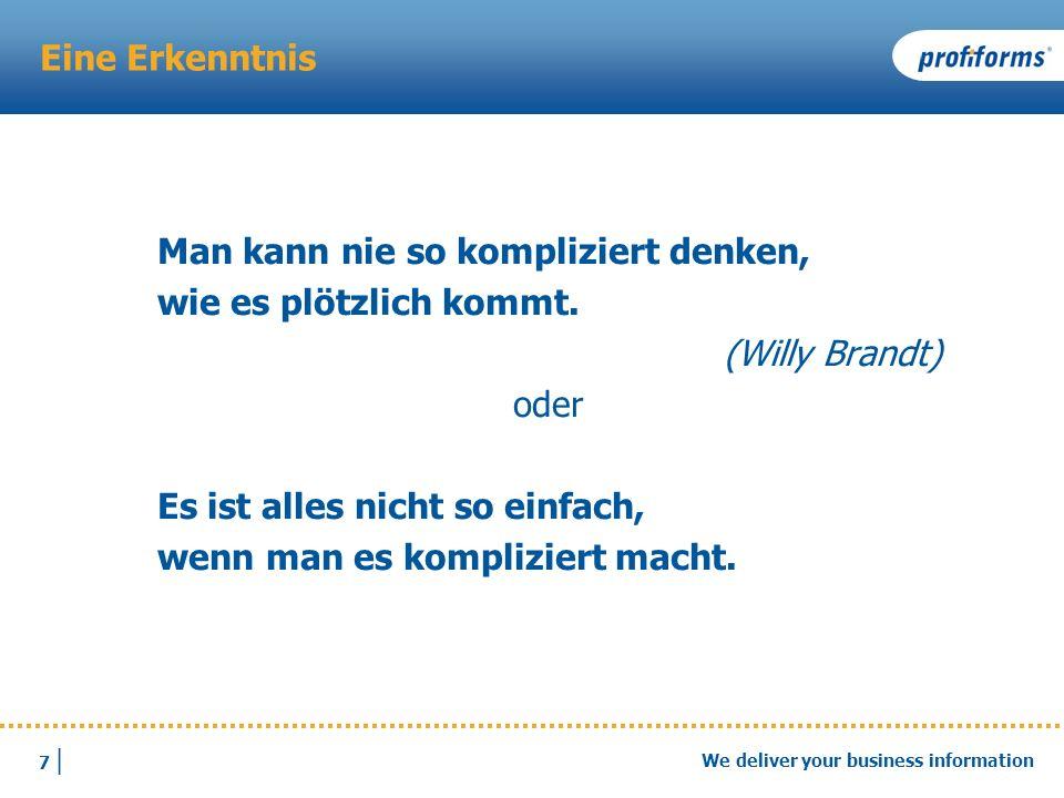 Eine Erkenntnis Man kann nie so kompliziert denken, wie es plötzlich kommt. (Willy Brandt) oder.
