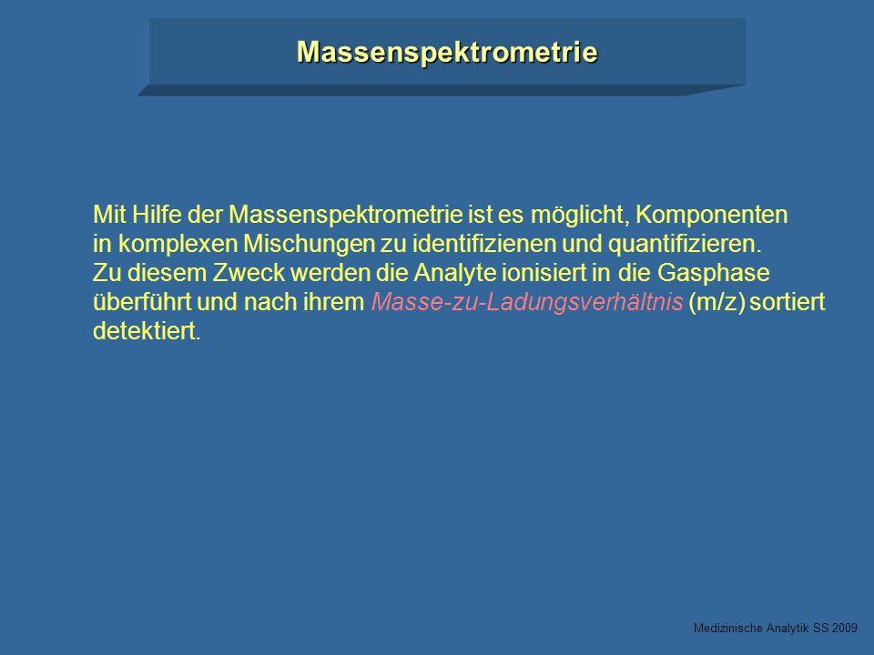 Massenspektrometrie Mit Hilfe der Massenspektrometrie ist es möglicht, Komponenten. in komplexen Mischungen zu identifizienen und quantifizieren.