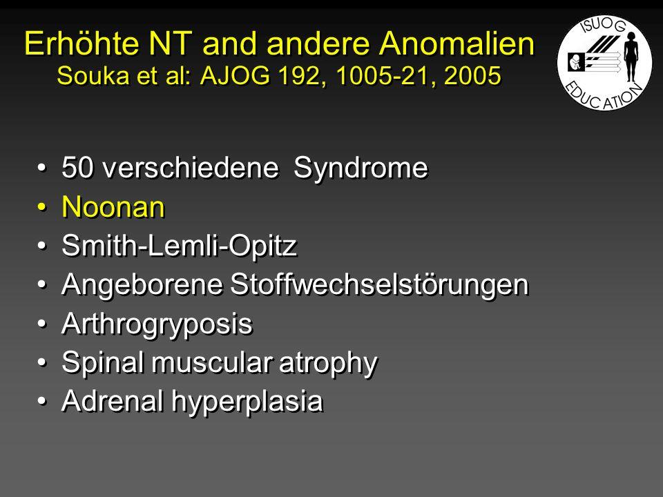 Erhöhte NT and andere Anomalien Souka et al: AJOG 192, 1005-21, 2005