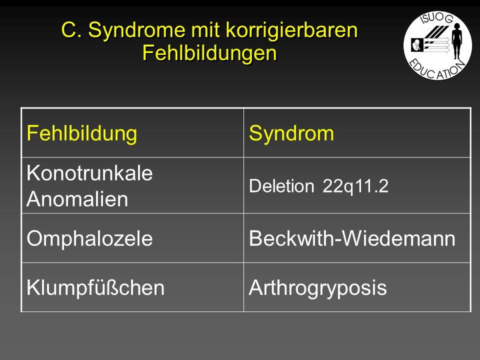 C. Syndrome mit korrigierbaren Fehlbildungen