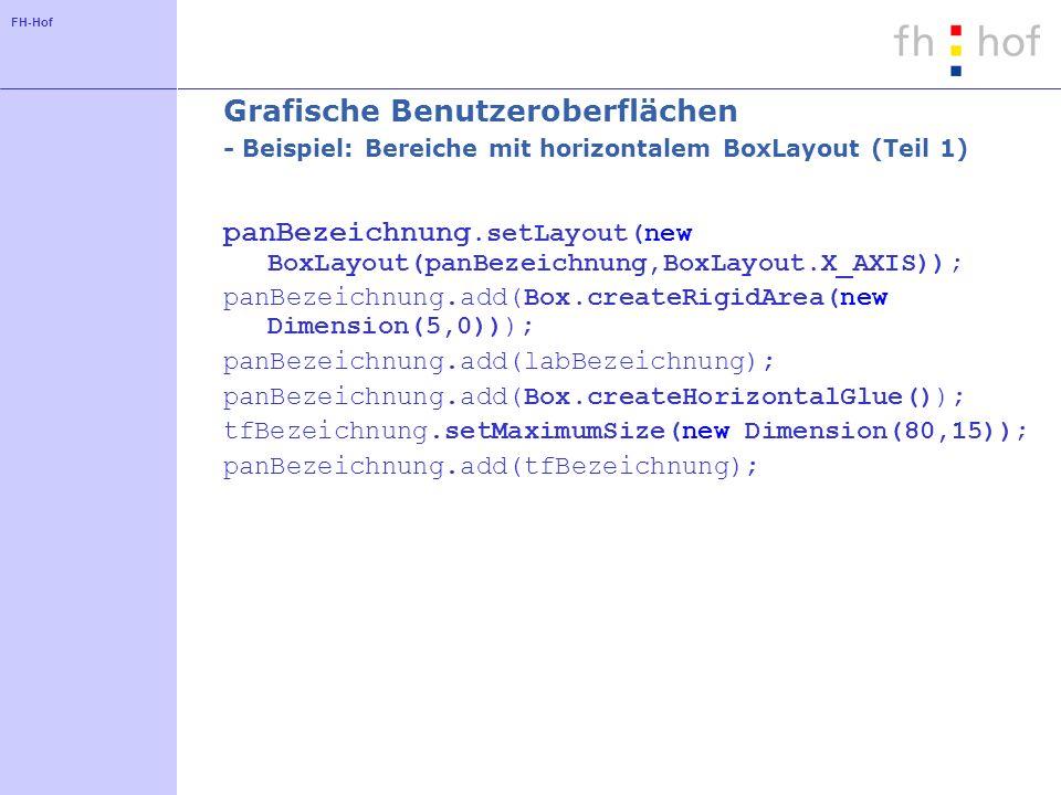 Grafische Benutzeroberflächen - Beispiel: Bereiche mit horizontalem BoxLayout (Teil 1)