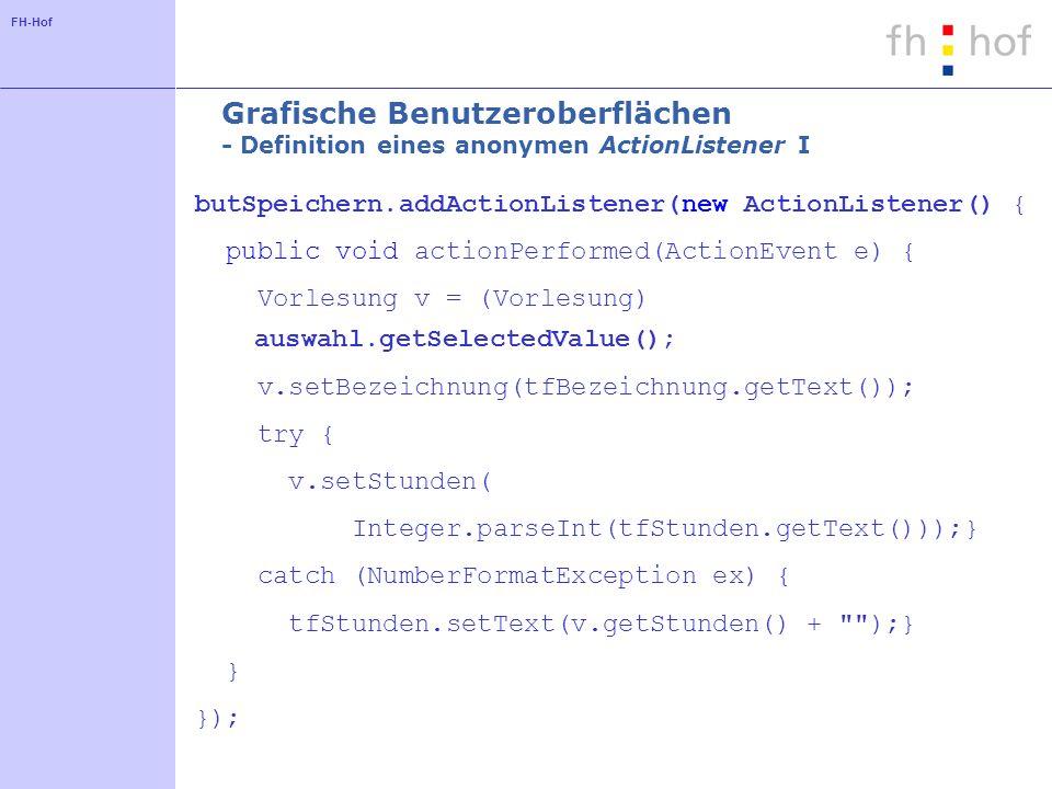 Grafische Benutzeroberflächen - Definition eines anonymen ActionListener I
