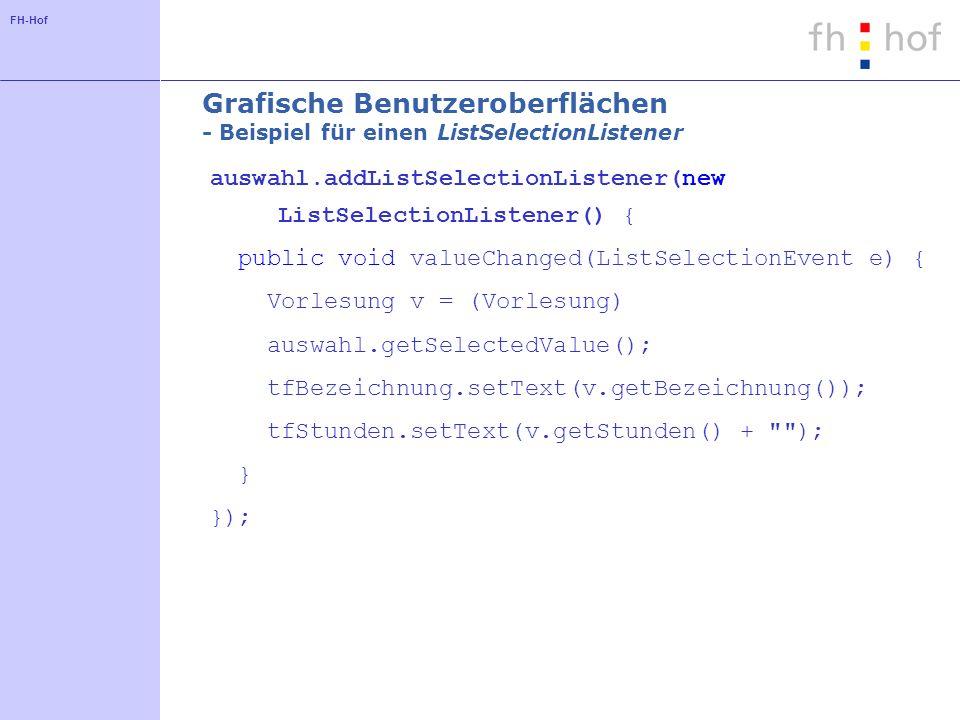 Grafische Benutzeroberflächen - Beispiel für einen ListSelectionListener