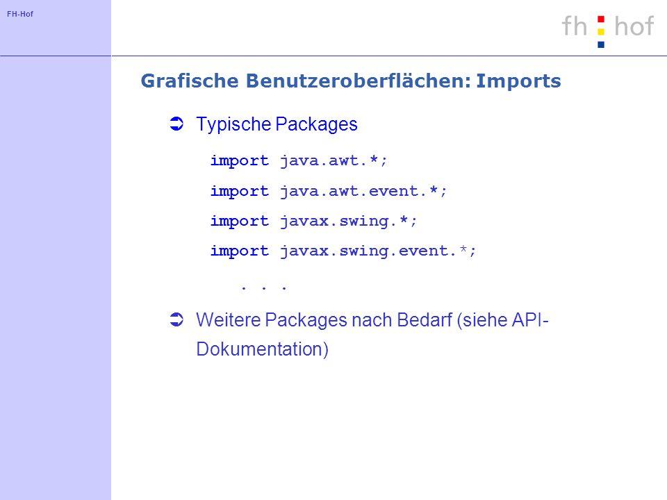 Grafische Benutzeroberflächen: Imports