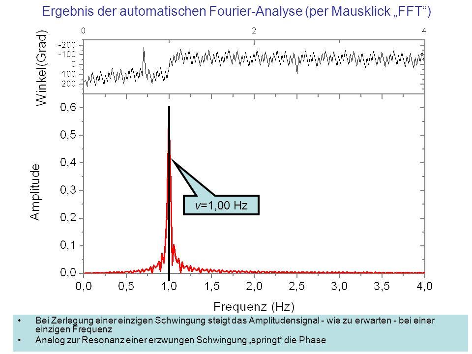 """Ergebnis der automatischen Fourier-Analyse (per Mausklick """"FFT )"""