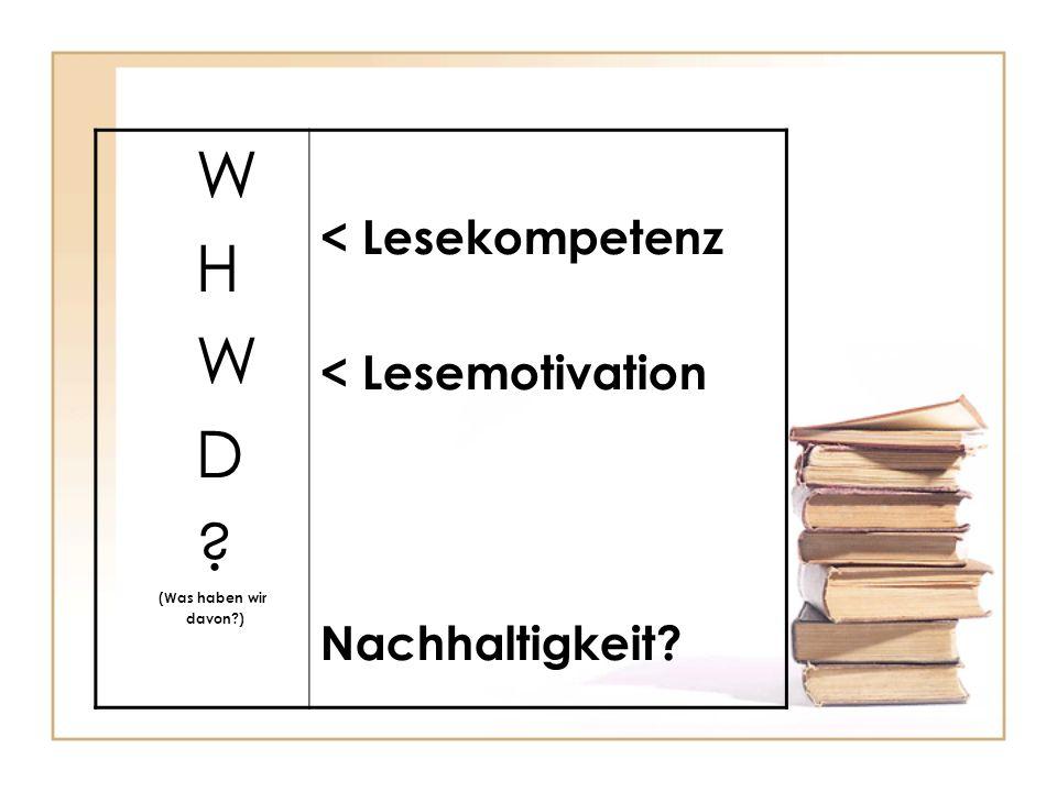 W H D < Lesekompetenz < Lesemotivation Nachhaltigkeit