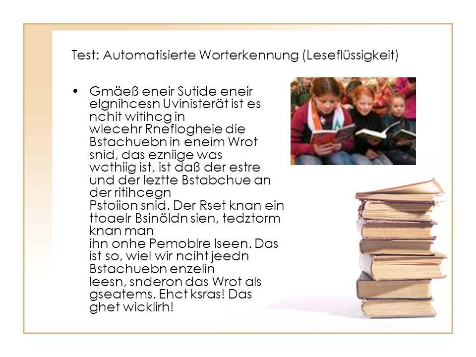 Test: Automatisierte Worterkennung (Leseflüssigkeit)