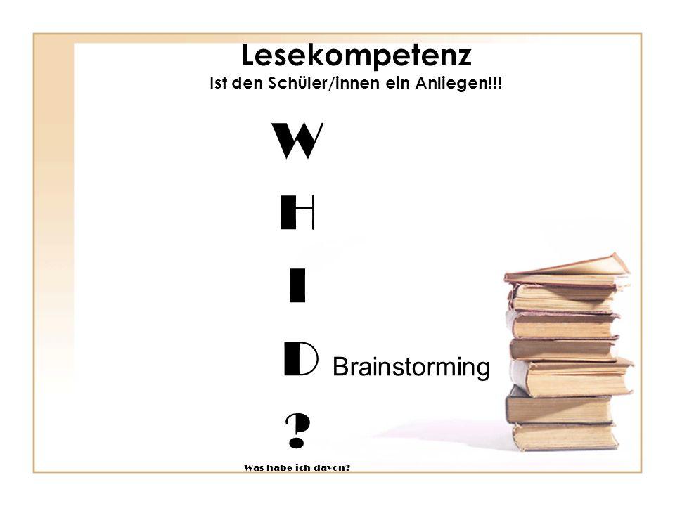 Lesekompetenz Ist den Schüler/innen ein Anliegen!!!