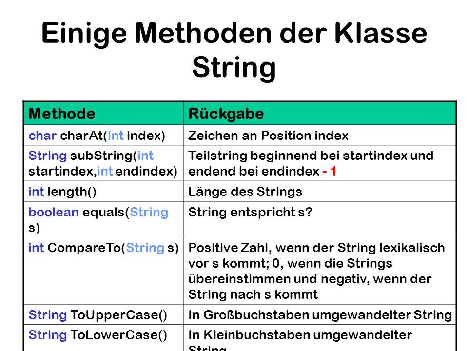 Einige Methoden der Klasse String