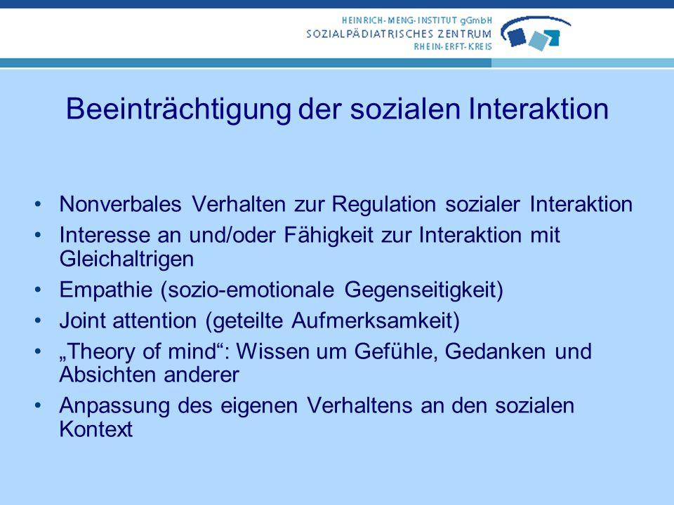 Beeinträchtigung der sozialen Interaktion