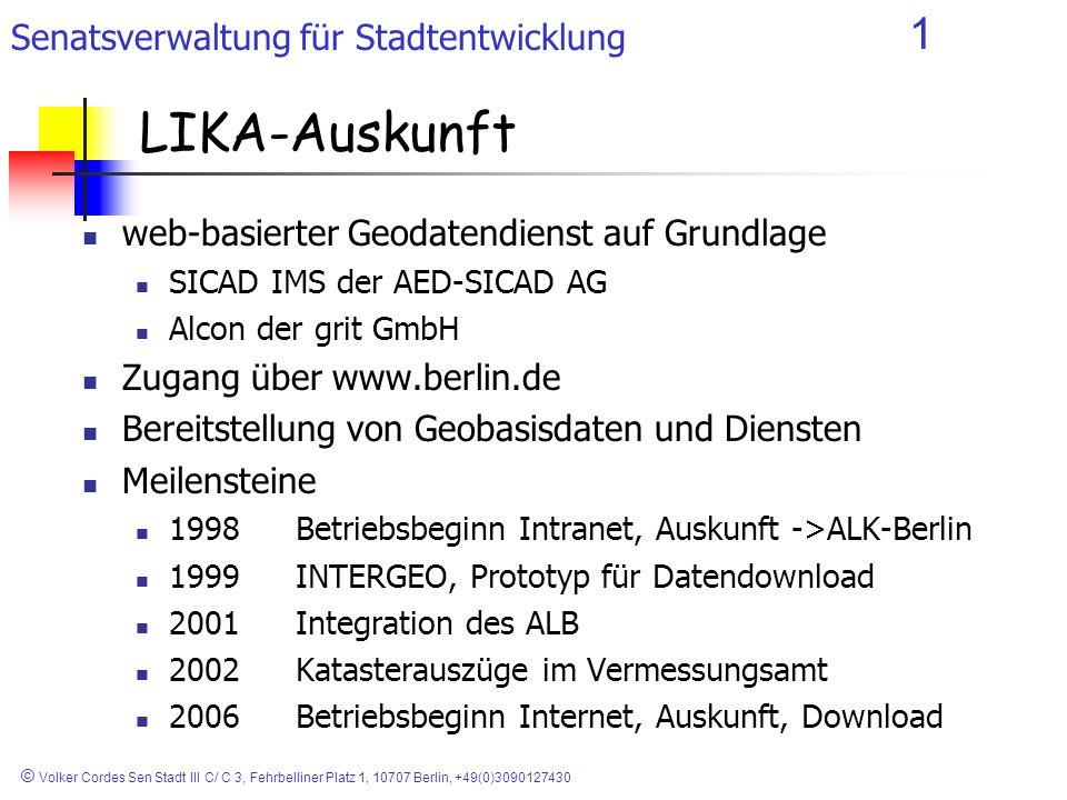 LIKA-Auskunft web-basierter Geodatendienst auf Grundlage