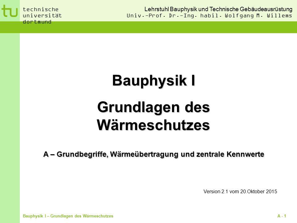 Bauphysik I Grundlagen des Wärmeschutzes