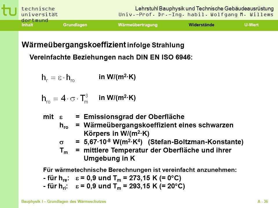 Wärmeübergangskoeffizient infolge Strahlung