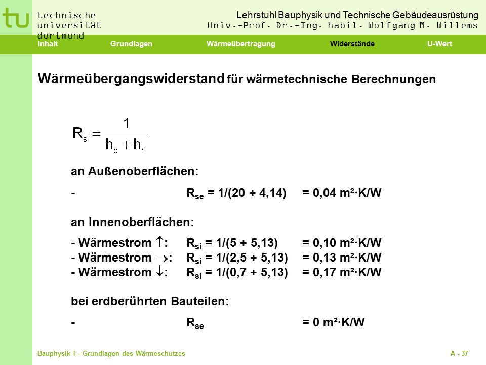 Wärmeübergangswiderstand für wärmetechnische Berechnungen