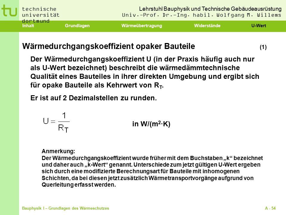 Wärmedurchgangskoeffizient opaker Bauteile (1)