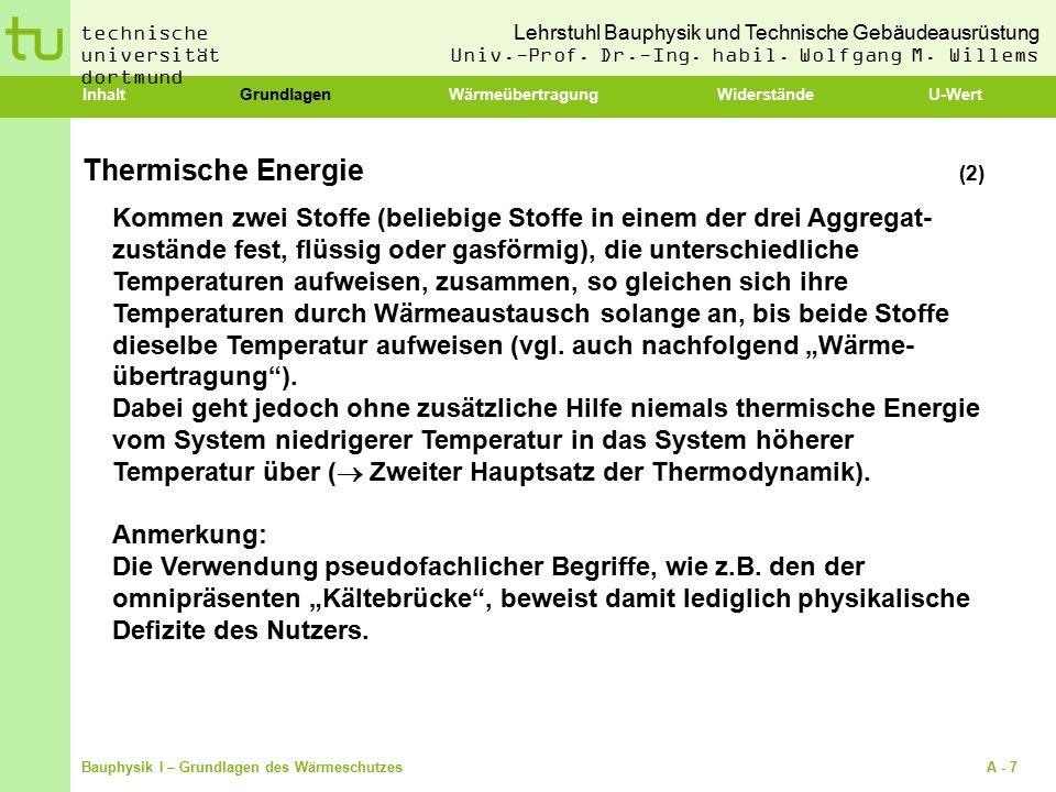 Inhalt Grundlagen Wärmeübertragung Widerstände U-Wert