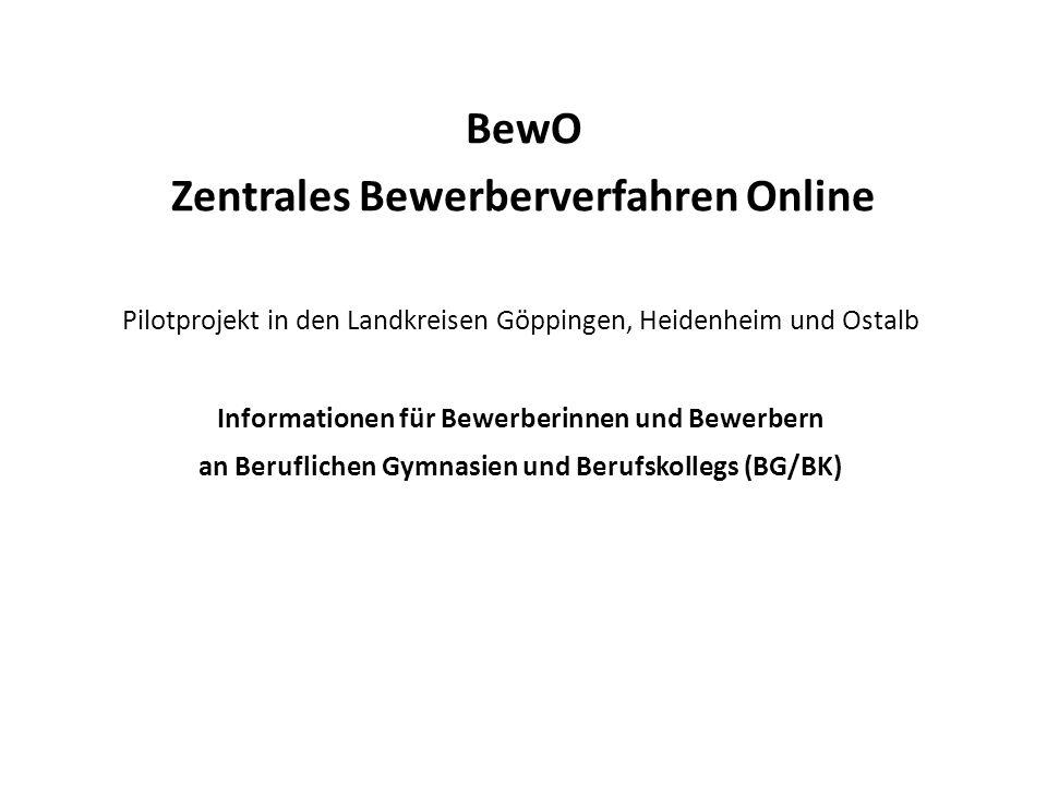 BewO Zentrales Bewerberverfahren Online