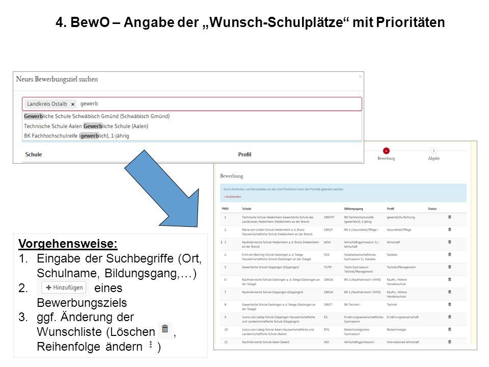 """4. BewO – Angabe der """"Wunsch-Schulplätze mit Prioritäten"""