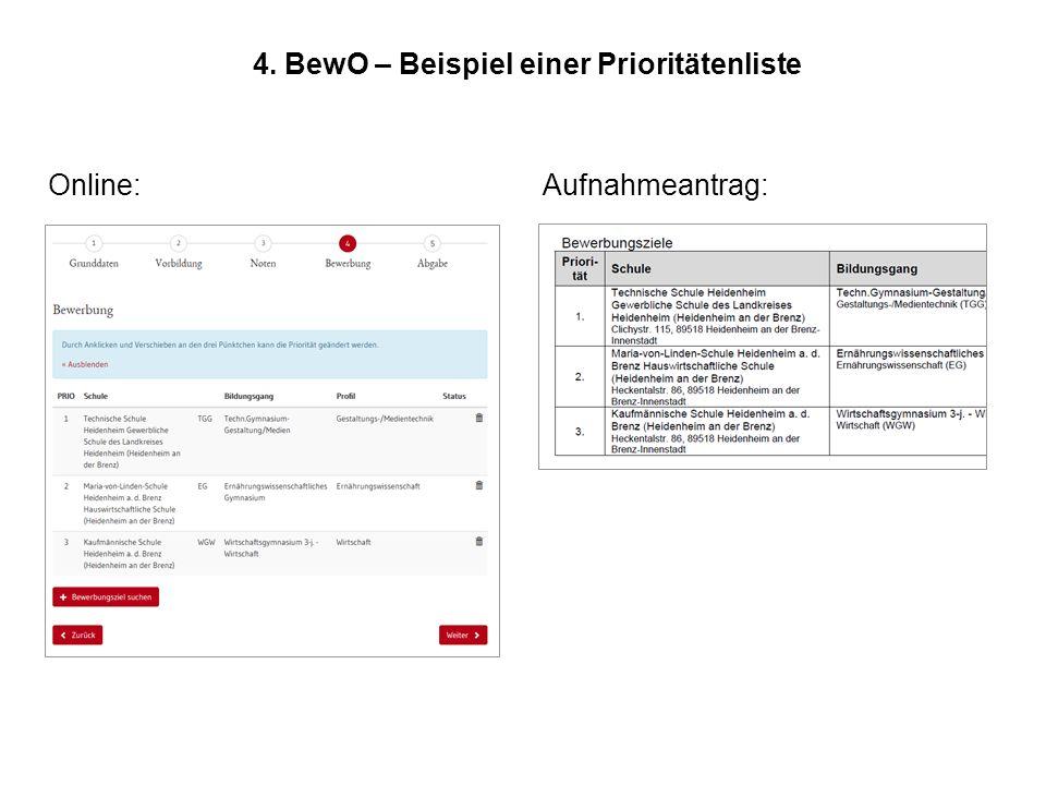 4. BewO – Beispiel einer Prioritätenliste