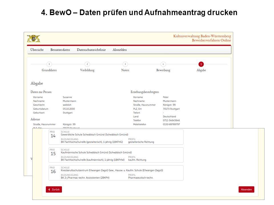 4. BewO – Daten prüfen und Aufnahmeantrag drucken
