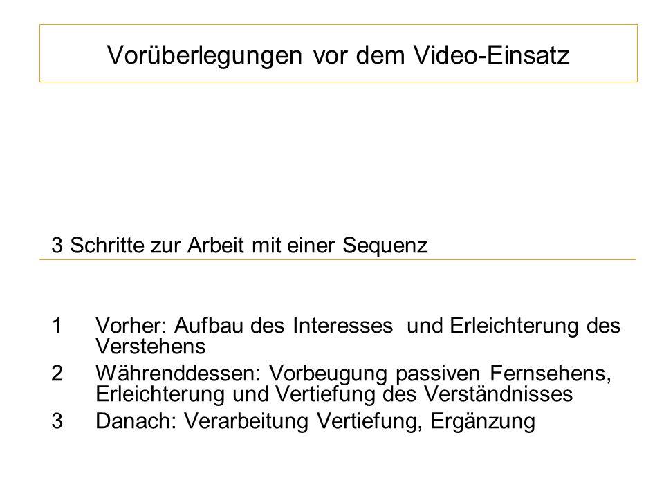 Vorüberlegungen vor dem Video-Einsatz