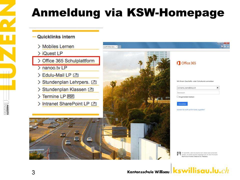 Anmeldung via KSW-Homepage
