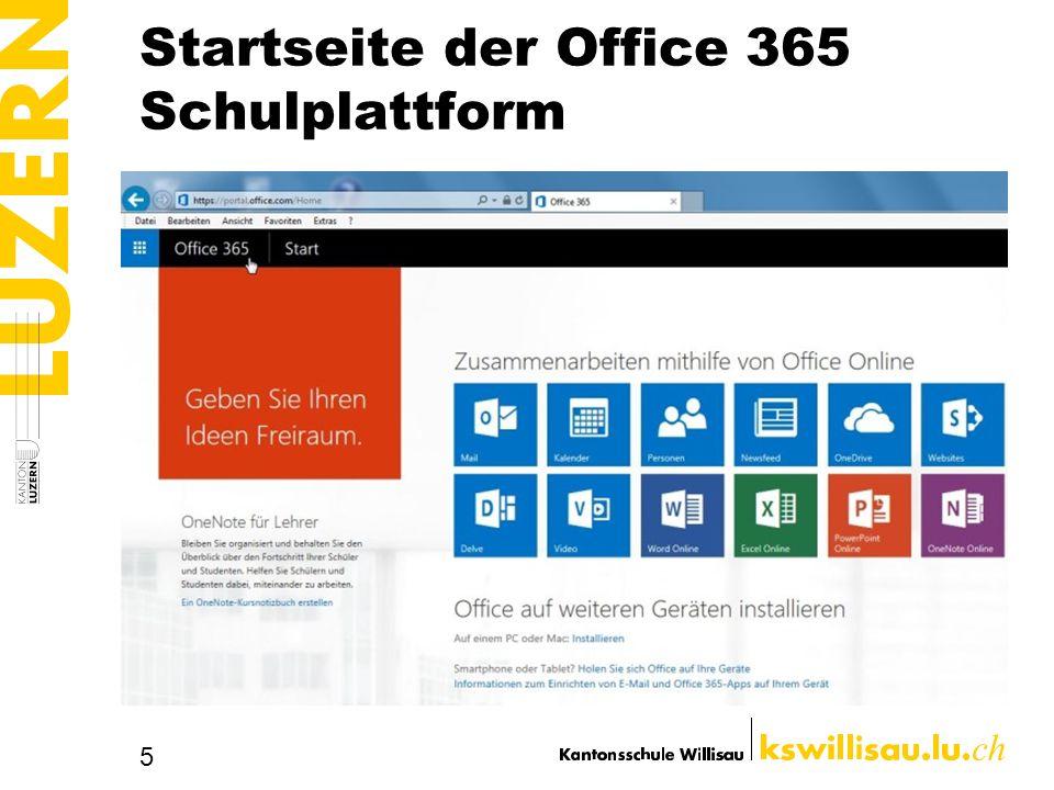 Startseite der Office 365 Schulplattform
