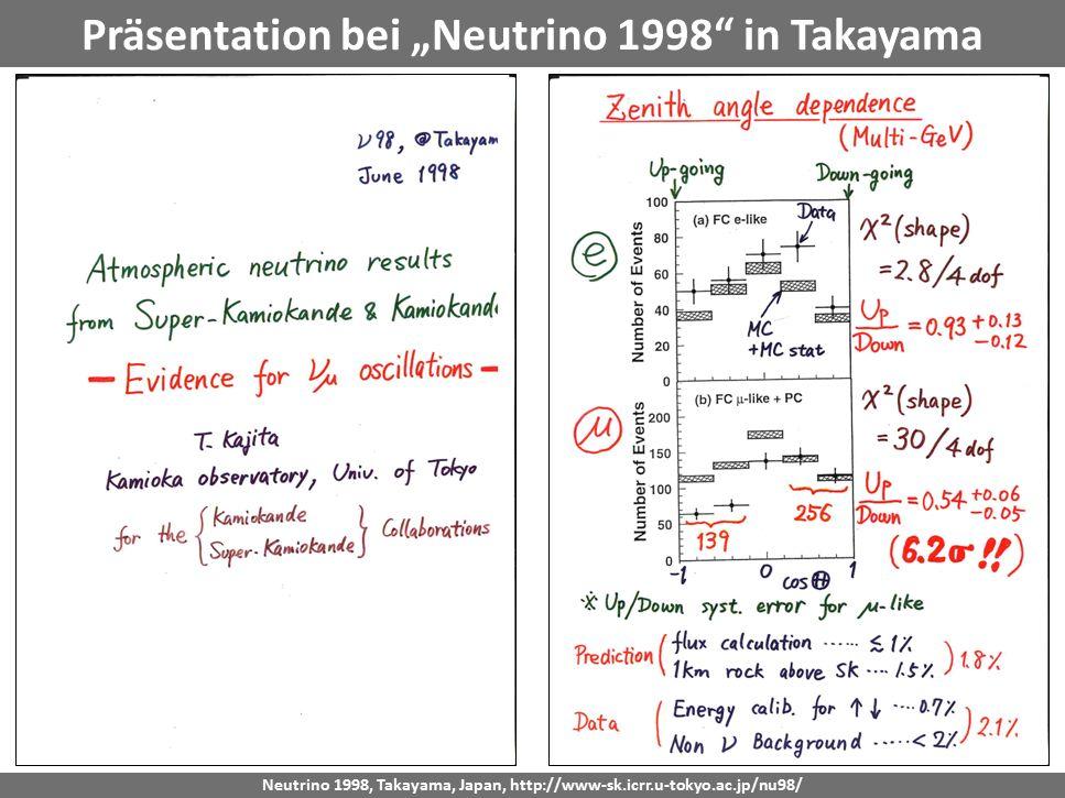 """Präsentation bei """"Neutrino 1998 in Takayama"""