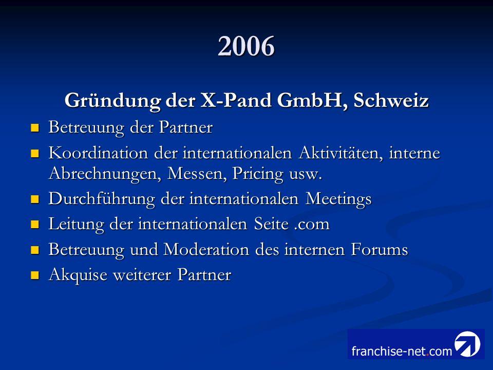 Gründung der X-Pand GmbH, Schweiz