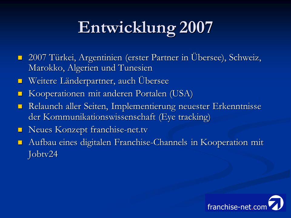 Entwicklung 2007 2007 Türkei, Argentinien (erster Partner in Übersee), Schweiz, Marokko, Algerien und Tunesien.