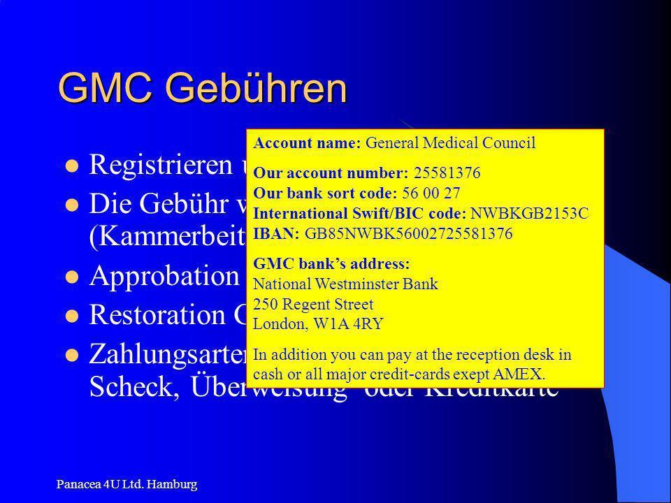 GMC Gebühren Registrieren und 1. Jahresgebühr £ 290,00