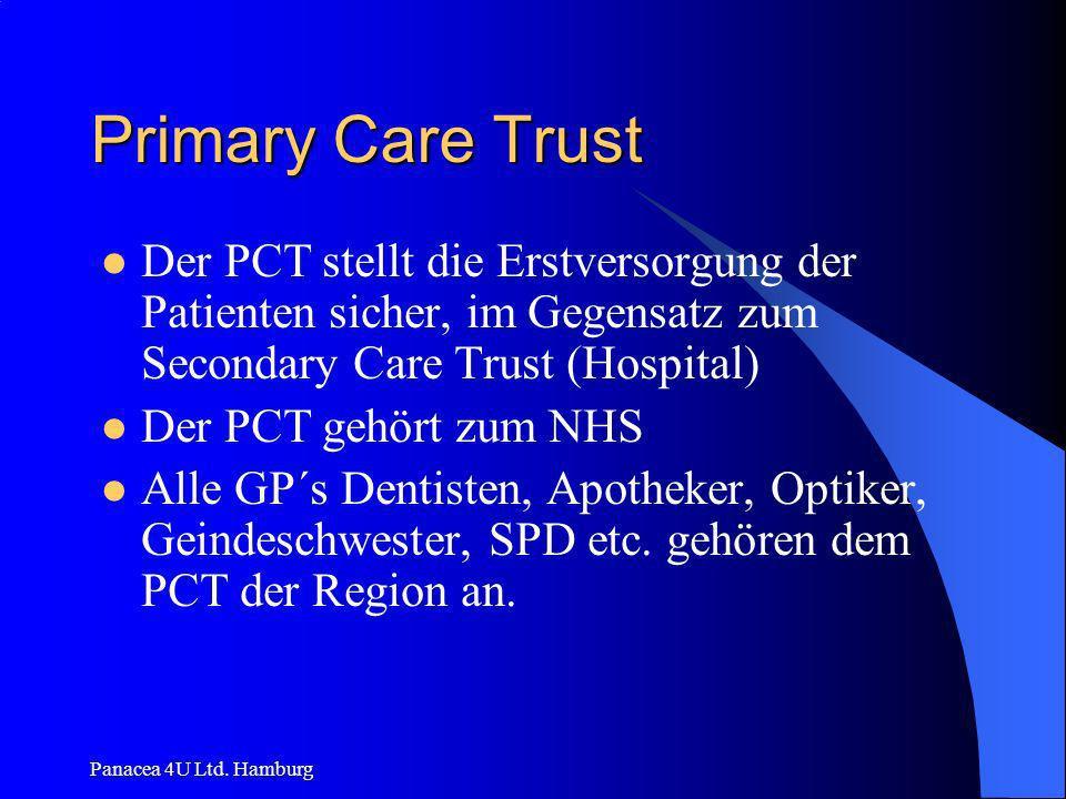 Primary Care Trust Der PCT stellt die Erstversorgung der Patienten sicher, im Gegensatz zum Secondary Care Trust (Hospital)