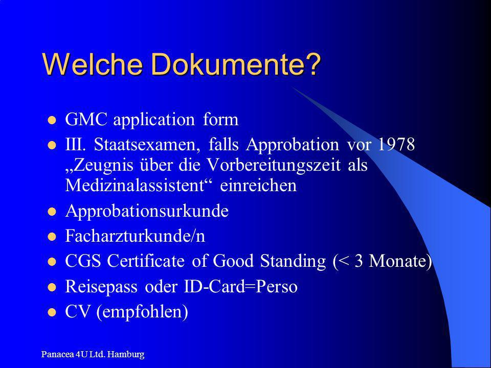 Welche Dokumente GMC application form