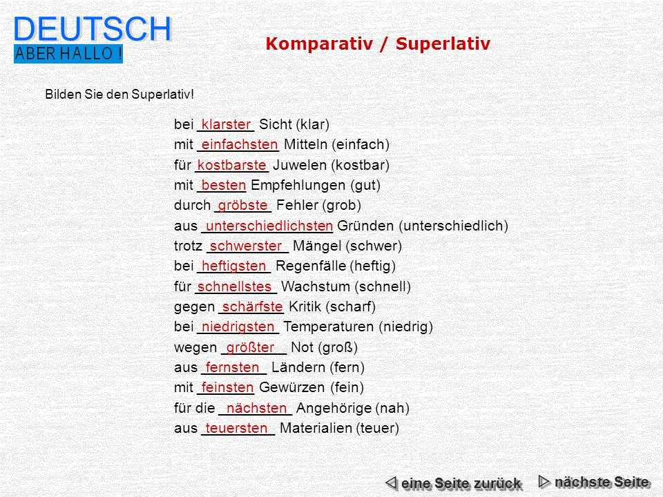 DEUTSCH Komparativ / Superlativ bei _______ Sicht (klar)