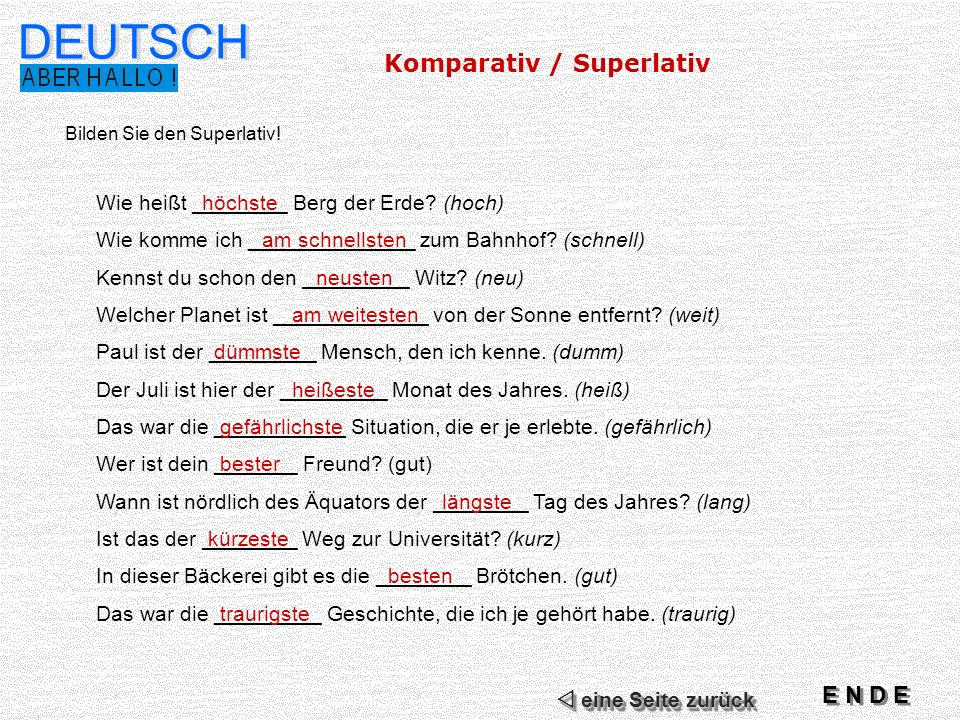 DEUTSCH Komparativ / Superlativ E N D E